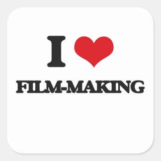 I Love Film-Making Square Stickers
