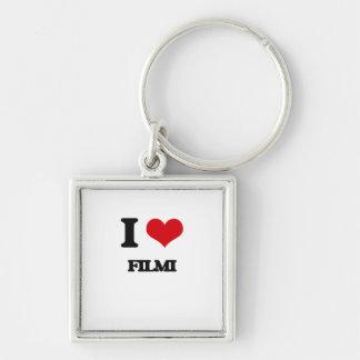 I Love FILMI Silver-Colored Square Keychain