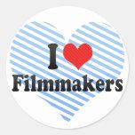 I Love Filmmakers Round Sticker