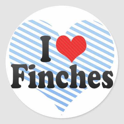 I Love Finches Round Stickers