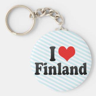 I Love Finland Basic Round Button Keychain