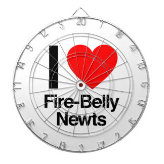 i love fire-belly newts dartboard with darts