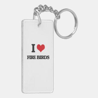 I love Fire Birds Double-Sided Rectangular Acrylic Keychain