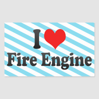 I love Fire Engine Rectangle Sticker