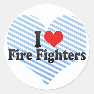 I Love Fire Fighters Classic Round Sticker