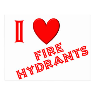 I Love Fire Hydrants Postcard