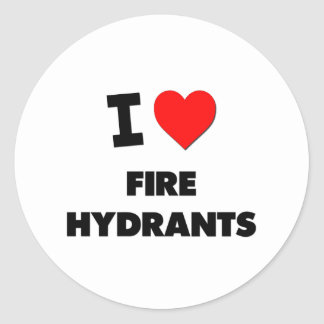 I Love Fire Hydrants Round Stickers