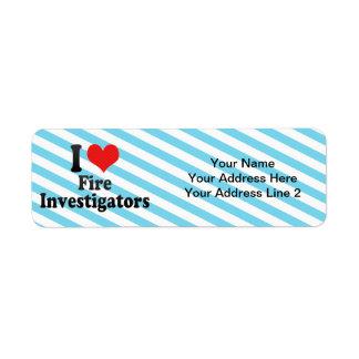 I Love Fire Investigators Custom Return Address Labels