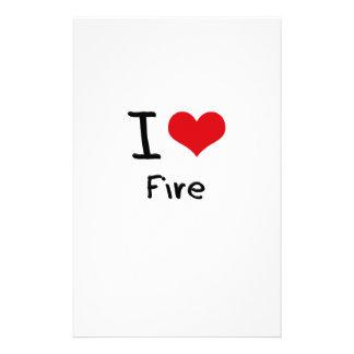 I Love Fire Custom Stationery