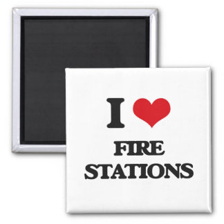 I love Fire Stations 2 Inch Square Magnet