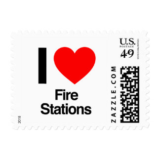 i love fire stations postage stamp