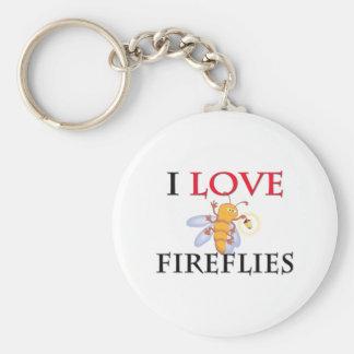 I Love Fireflies Basic Round Button Keychain