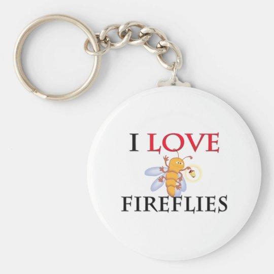 I Love Fireflies Keychain
