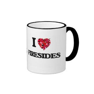 I Love Firesides Ringer Coffee Mug