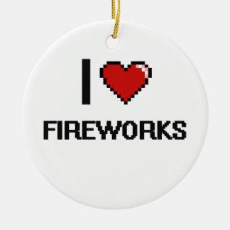 I Love Fireworks Digital Retro Design Double-Sided Ceramic Round Christmas Ornament