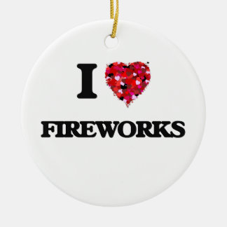 I Love Fireworks Double-Sided Ceramic Round Christmas Ornament
