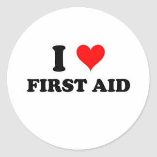I Love First Aid Classic Round Sticker