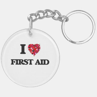 I Love First Aid Double-Sided Round Acrylic Keychain