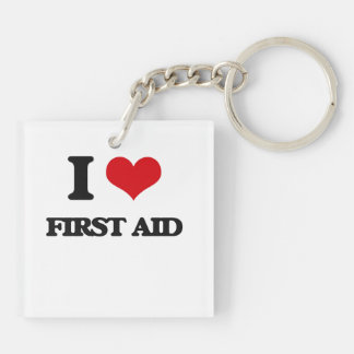 i LOVE fIRST aID Double-Sided Square Acrylic Keychain