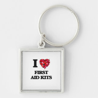 I Love First Aid Kits Silver-Colored Square Keychain