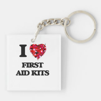I Love First Aid Kits Double-Sided Square Acrylic Keychain
