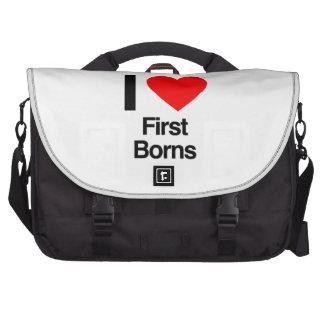 i love first borns laptop messenger bag