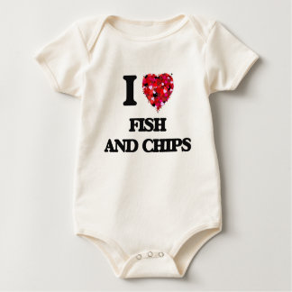 I love Fish And Chips Baby Bodysuits