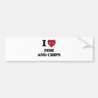 I love Fish And Chips Car Bumper Sticker