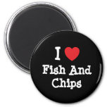 I love Fish And Chips heart T-Shirt Magnets