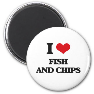 I love Fish And Chips 2 Inch Round Magnet