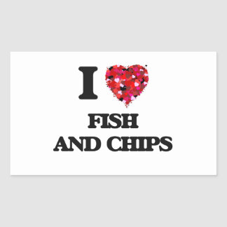 I love Fish And Chips Rectangular Sticker