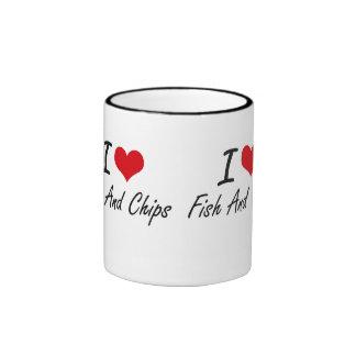 I love Fish And Chips Ringer Coffee Mug