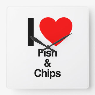 i love fish and chips square wall clock