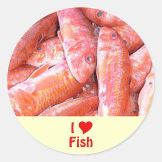 I Love Fish Classic Round Sticker