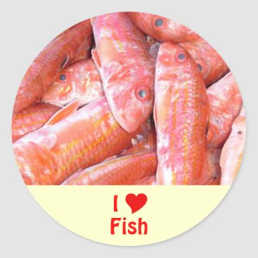Professional Business I Love Fish Classic Round Sticker