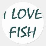 I Love Fish Round Stickers
