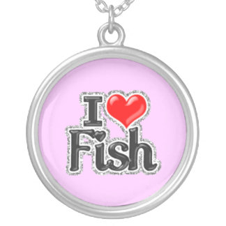 I LOVE Fish Sterling silver Necklace Jewelry