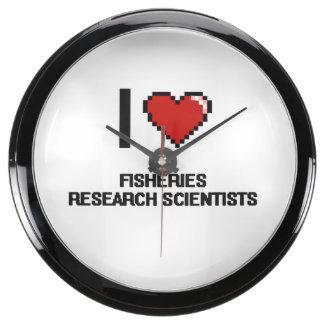 I love Fisheries Research Scientists Aqua Clock