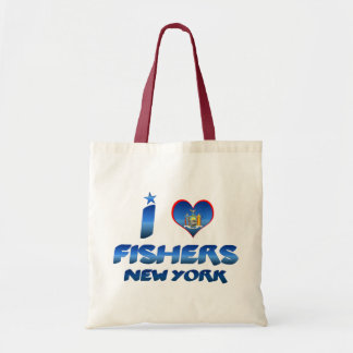I love Fishers, New York Canvas Bags