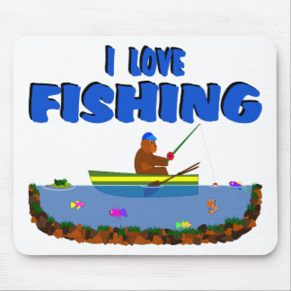 I Love Fishing Bear Cub In Boat Mouse Pad