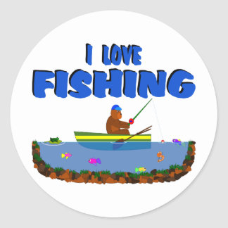 I Love Fishing Bear Cub In Boat Classic Round Sticker