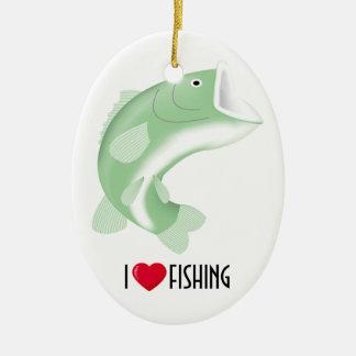 I Love Fishing Ceramic Ornament