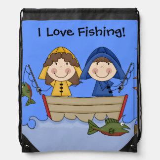I Love Fishing Custom Drawstring Backpack Bag