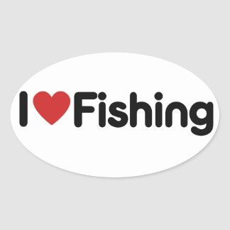 I Love Fishing Oval Sticker