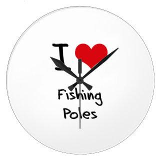 I Love Fishing Poles Wall Clock