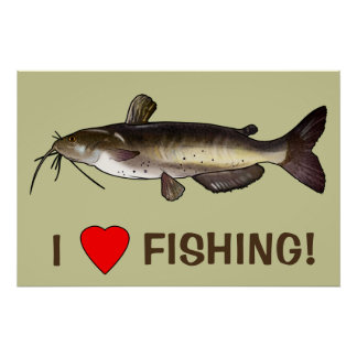 I Love Fishing with Catfish Poster