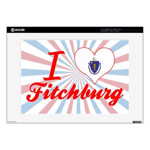"""I Love Fitchburg, Massachusetts 15"""" Laptop Skins"""