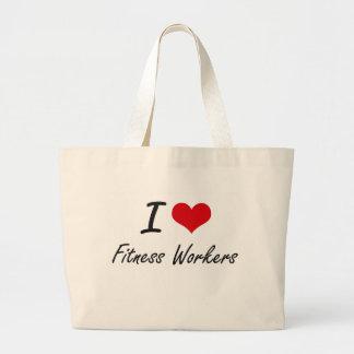 I love Fitness Workers Jumbo Tote Bag