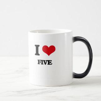 i LOVE fIVE 11 Oz Magic Heat Color-Changing Coffee Mug