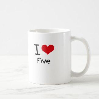 I Love Five Classic White Coffee Mug